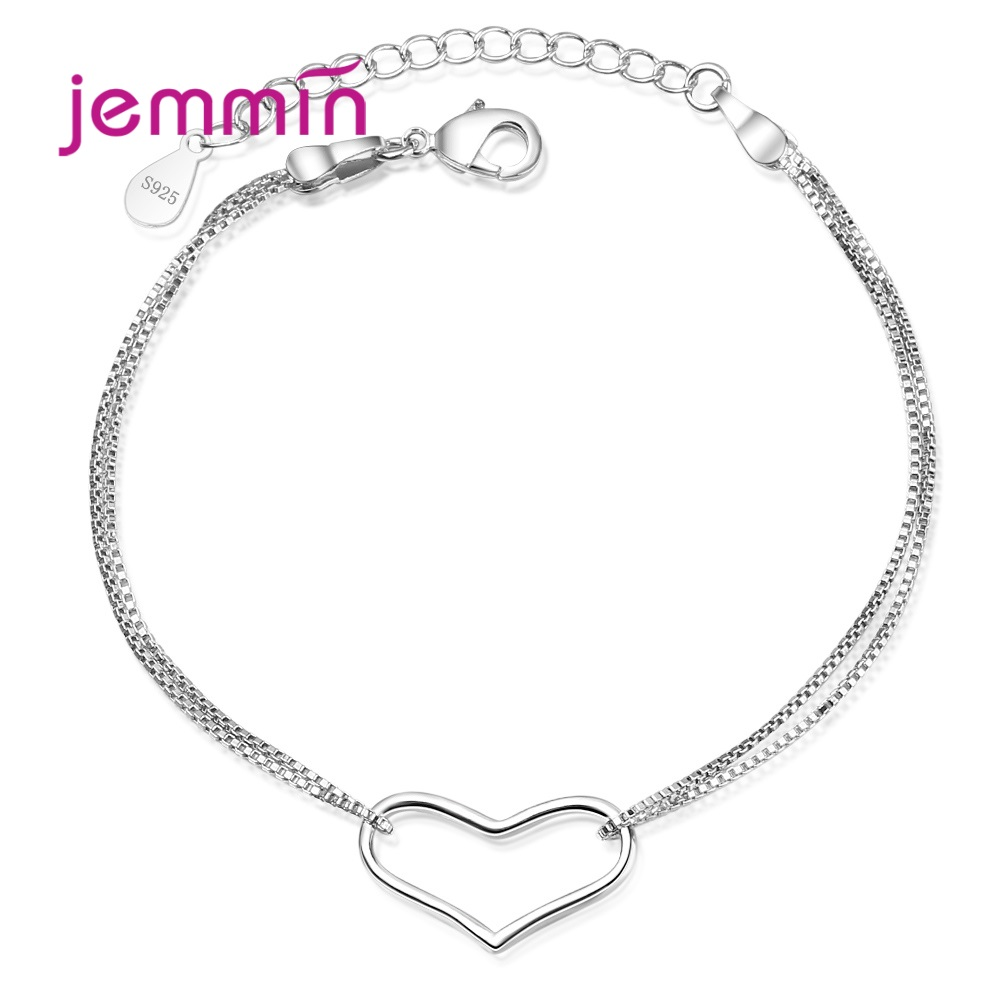 New Hot 925 Sterling Silver Charm Bracelets Trendy Heart Design High Quality Best Gift For Women Girls Party Appointment