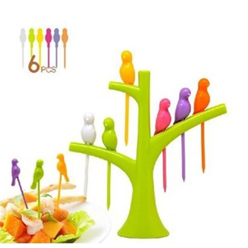 6 PCS/LOT Birdie Fruit Fork Birds On The Tree Dessert Funny Forks For Cake Dinnerware Party Cocktail Event Party Supplies