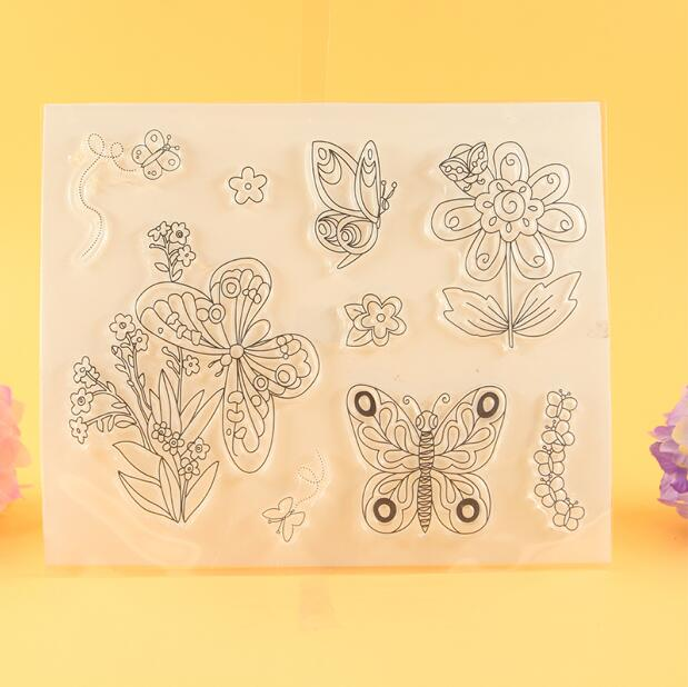 Scrapbook DIY Photo Album Card Rubber Chapter Transparent Seal cute butterfly Clear Stamp 217 scrapbook diy photo album card hand account rubber seal product seal transparent seal stamp cat