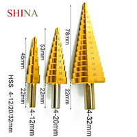 SHINA 3pcs HSS Step Drill Bit Set Plate Hole Punch Woodworking Hole Pagoda Drill Tool Bench