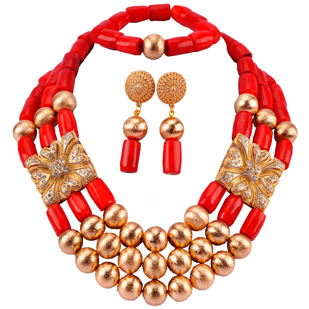 Luxury 3 Layers Real Red Nigerian Coral Beads Jewelry Set Coral Bead Statement Bridal Necklace Set New RCBS13Luxury 3 Layers Real Red Nigerian Coral Beads Jewelry Set Coral Bead Statement Bridal Necklace Set New RCBS13