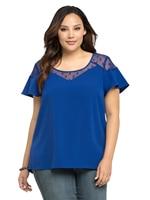 Women Mesh Patchwork Polka Dot Shirt Top See Through Navy Blue Butterfly Short Sleeve Big Size