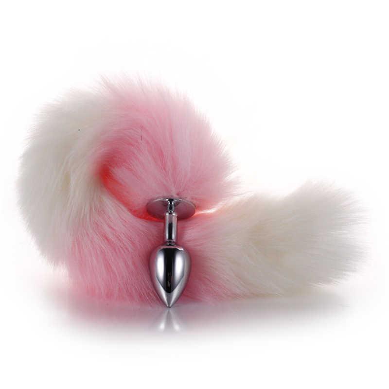 1 Pcs คอสเพลย์ Fox Tail เพศผู้ใหญ่อุปกรณ์เสริมปลั๊กโลหะยาว Anal เสียบของเล่นเพศสัตว์บทบาทเล่น
