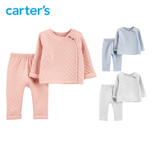 Carter s 2 Pcs Quilted Heather Top Pant Set Autumn winter solid long sleeve thick baby