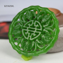 Natural green jade pendant pendant and Tian Yu men's and women's free shipping 2018 rushed real brinco s925 pure antique mosaic and tian yu jade bell orchid butterfly lady ear pendant earrings wholesale
