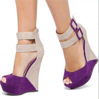 SHOFOO shoes, beautiful fashion post free purple collocation Beige suede, zipper, double buckle, 14.5 cm wedge sandals. SIZE:34