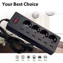 USB Power Strip 4 AC Power Sockets+6 USB Outlets Surge Protected Extension Lead Adapter 1.8M Cable USB Socket EU Plug(China)