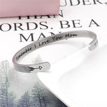 Wide 6mm Cuff Trendy Remember I Love You Mom Keep Going Bracelets Titanium Encouragement Bangle For Men Women Jewelry все цены