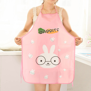 Hot Sale Mother Gift Cute Cartoon Rabbit Pattern Women Aprons Waterproof Kitchen Cooking Apron Sleeveless cooking Accessory 1