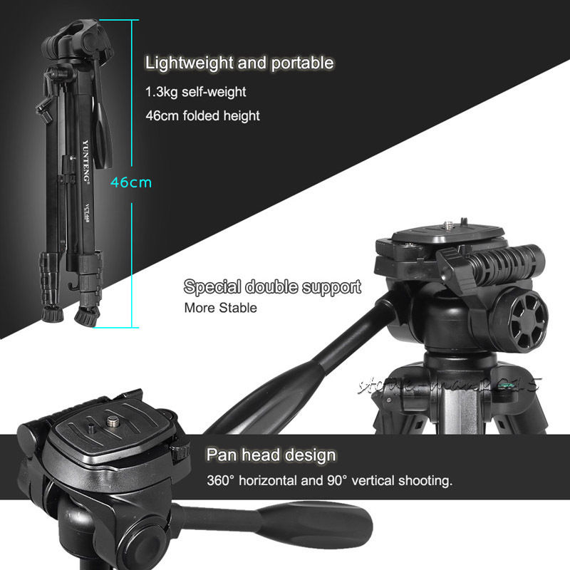 Damping Head Fluid Pan Carrying Bag Portable DSLR Camera Pro YUNTENG Tripod For Canon EOS For Nikon For Sony SLR DV VCR Video original weifeng wt3770 portable lightweight aluminum alloy tripod with carrying bag for dslr slr camera