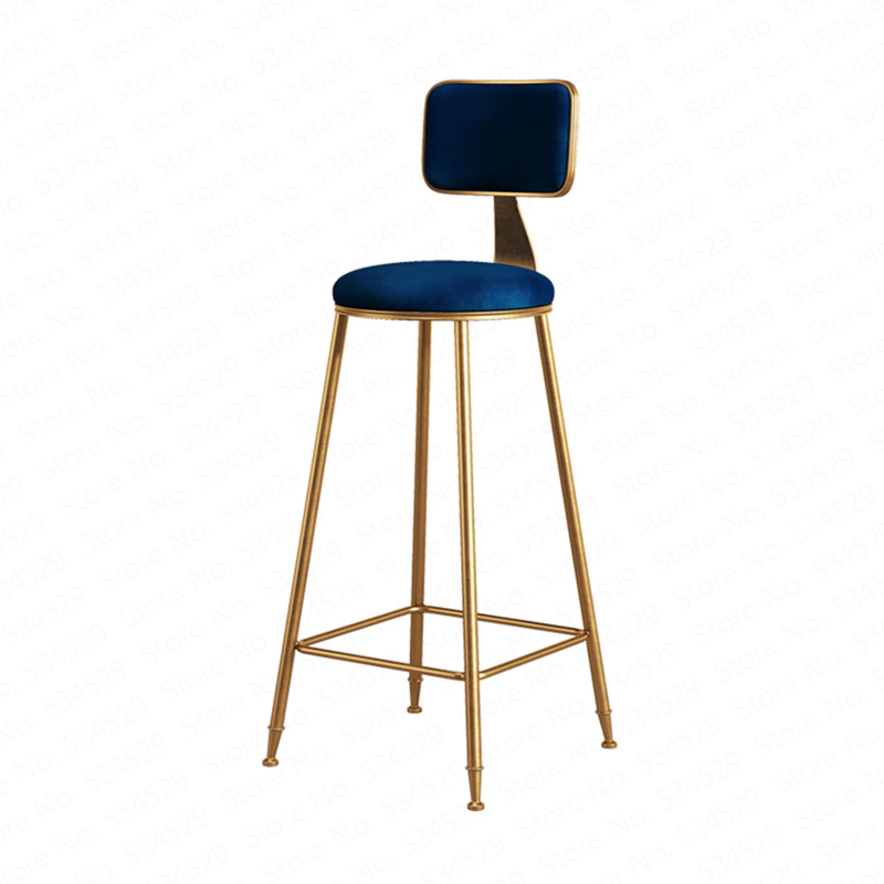 N3A1Nordic Wrought Iron Bar Stool Modern Minimalist Home Backrest Dining Chair High Stool Cafe Bar Stool Bar Stool