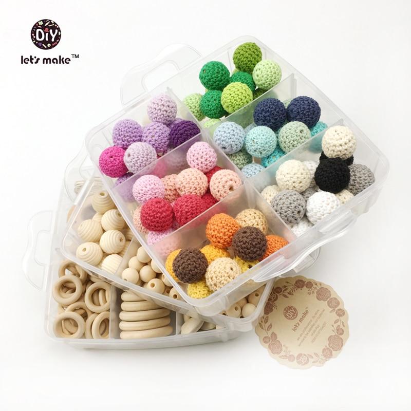 Let's Make Baby Teether Nursing Jewelry Combination Package Crochet Blending Geometry Wood Beads Creative Wooden Teether