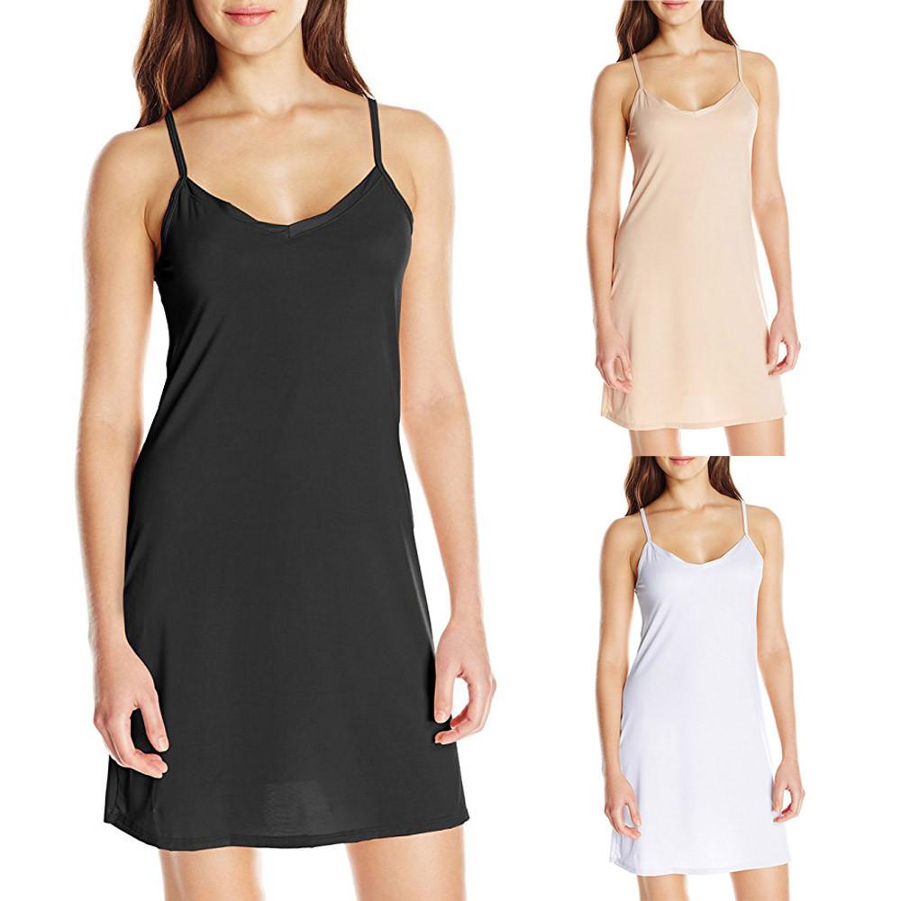 Women Sling Dress Casual Solid Spaghetti Short Dress Sleeveless Dress Slips Under Dress Sexy Ladies Vestido Ropa Mujer #A