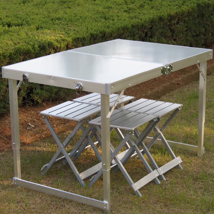 Outdoor Aluminum Alloy Folding Tables And Chairs Set Portable Picnic Table Bbq Information Desk