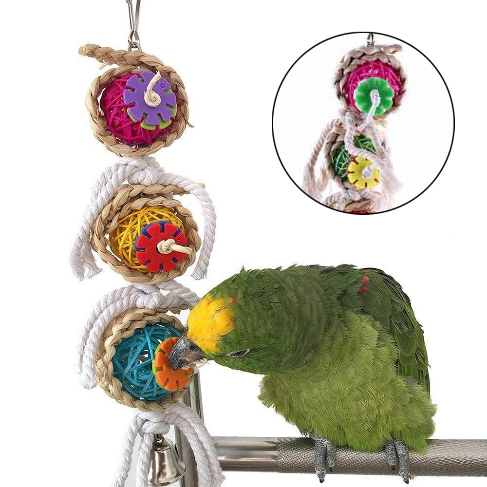 1PC Parrot Toy Birds Chewing Hanging Cage Toy Parakeet Cockatiel Climbing Bite Play Toy Pet Bird Supplies