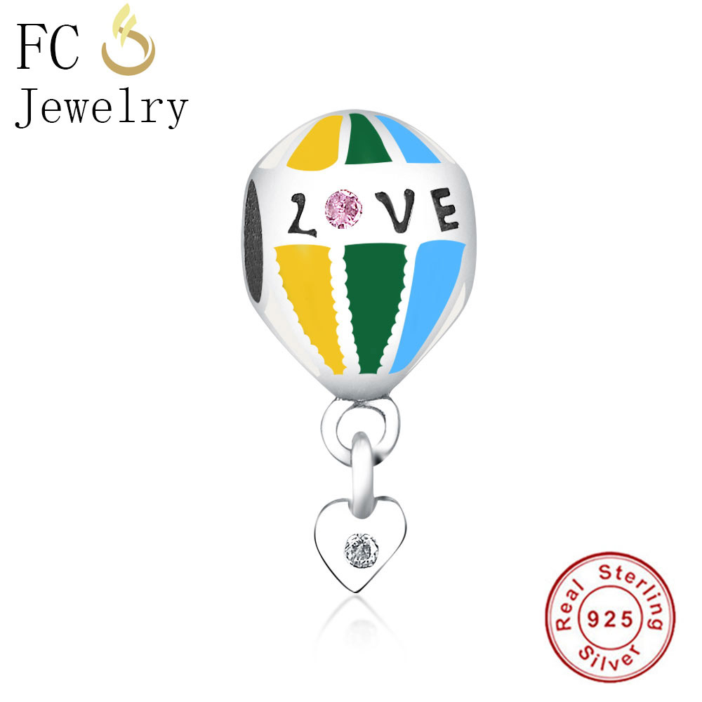 FC Jewelry Fit Original Pandora Charms Bracelet Essence 925 Silver Enamel Pink CZ Stone Love Heart Beads for DIY Making Berloque
