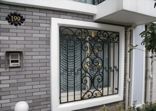 Wrought iron steel glass window metal glass window wrought for Window protector designs
