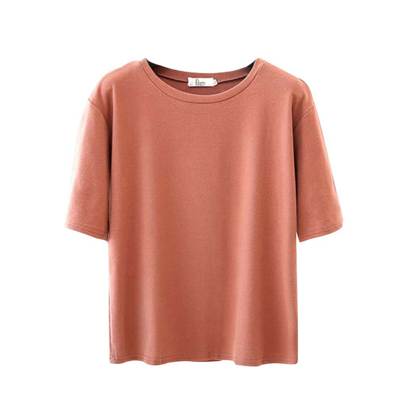 S-2XL Women Solid Color Slim Cotton Tees Summer Short Sleeve O-neck Female T-shirts Casual Soft Tops Ladies Clothing
