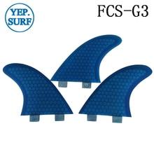Surfing FCS Fins G3 Size Honeycomb Fibreglass Fin Blue color Surf Quilhas