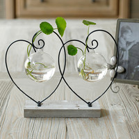 Home vase decoration brief transparent glass vase fashion home decoration double hearts love style home decor home vase decor