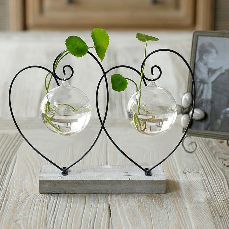 Home Vase Decoration Brief Transparent Glass Vase Fashion Home Decoration  Double Hearts Love Style Home Decor