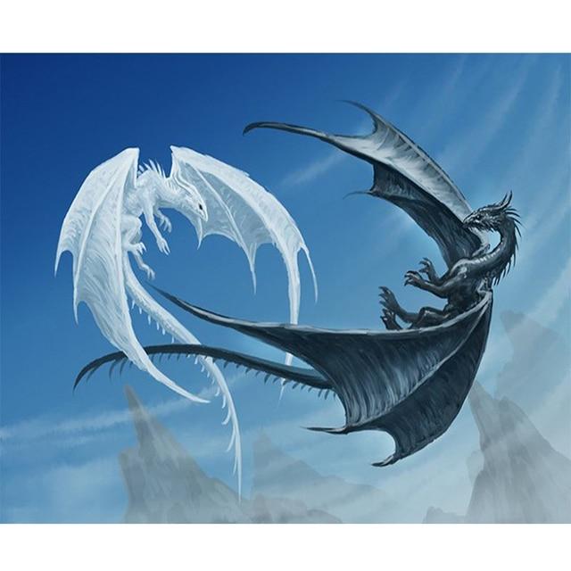 3d white dragon and black dragon fighting image diy diamond