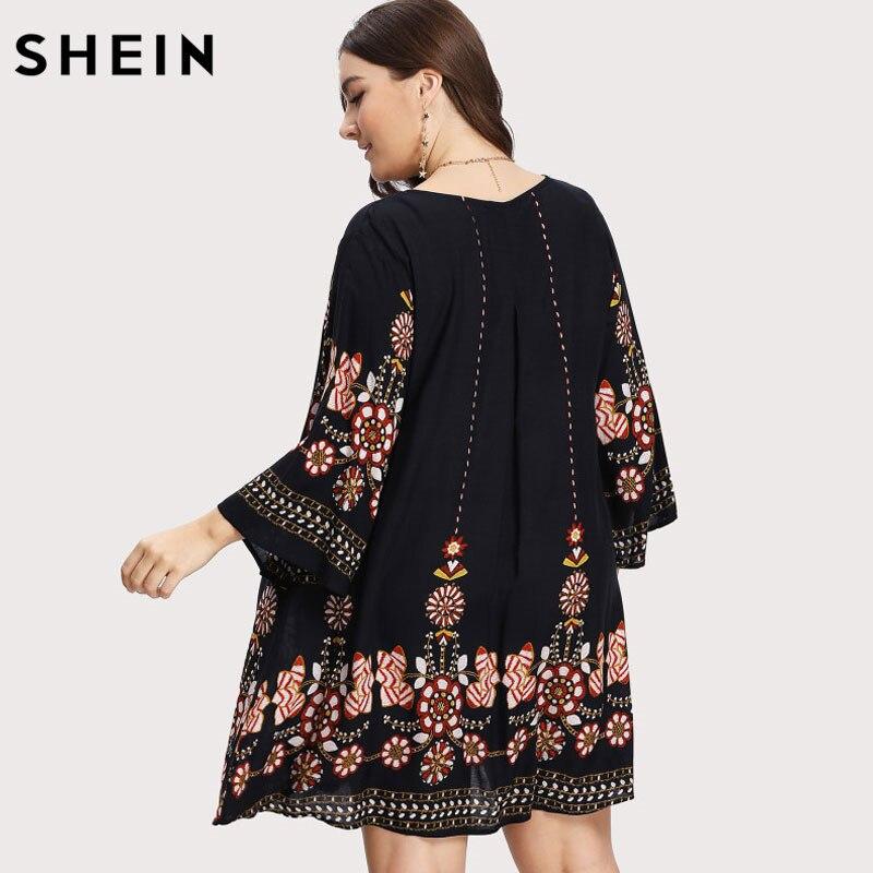 estilo de moda estilo popular gran variedad de estilos € 14.65 45% de DESCUENTO|SHEIN negro más tamaño Floral bordado túnica  vestido Primavera Verano elegante tallas grandes Tribal flor estampado ...