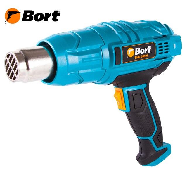 Фен технический Bort BHG-2000X (Мощность 2000 Вт, 2 режима работы, воздушный поток 300/500 л./мин, температура 350/600°С, в комплекте 4 насадки)