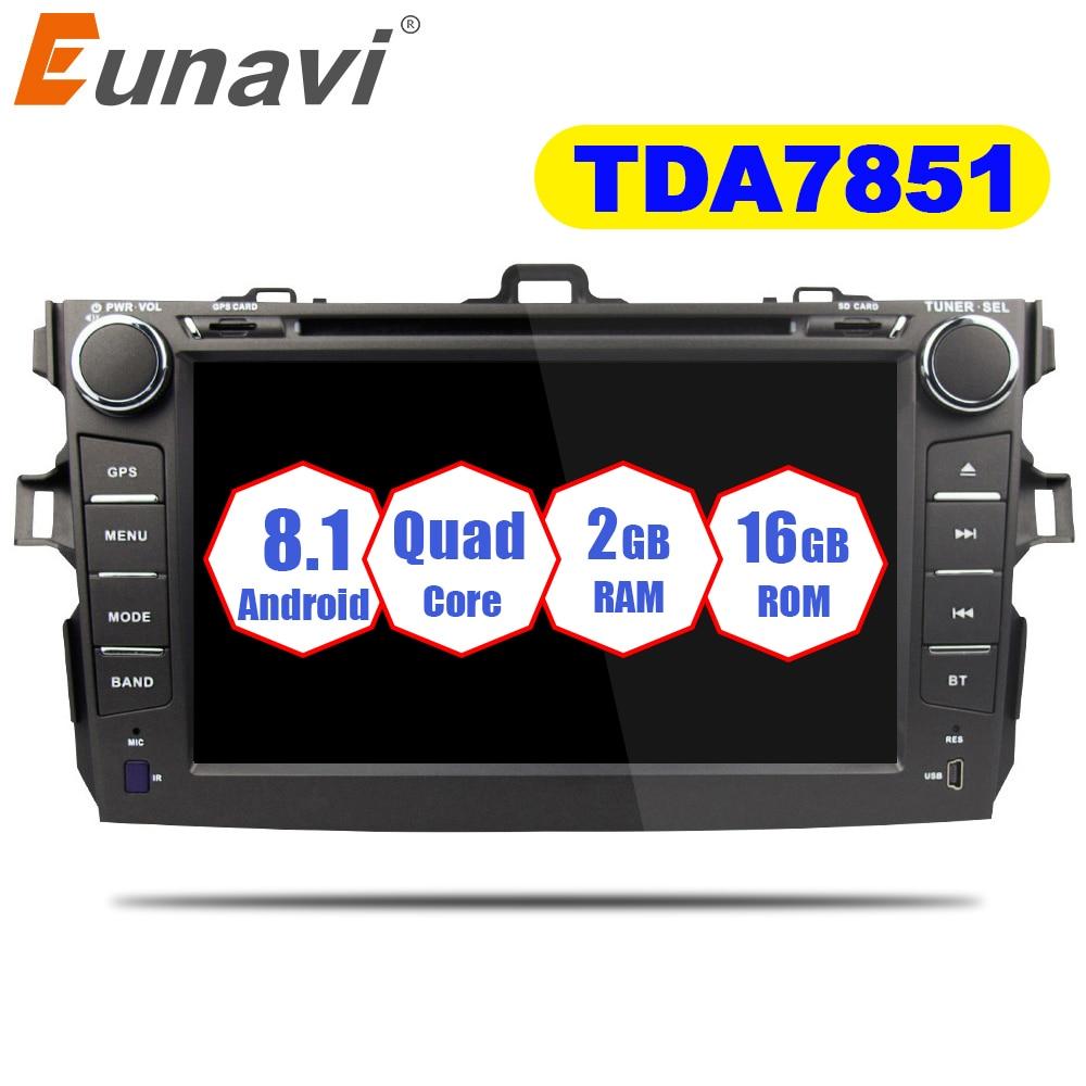 Eunavi 2 Din Android 8.1 lecteur dvd De Voiture Pour Toyota Corolla 2007 2008 2009 2010 2011 Au Tableau de Bord autoradio Gps Vidéo wifi Bluetooth