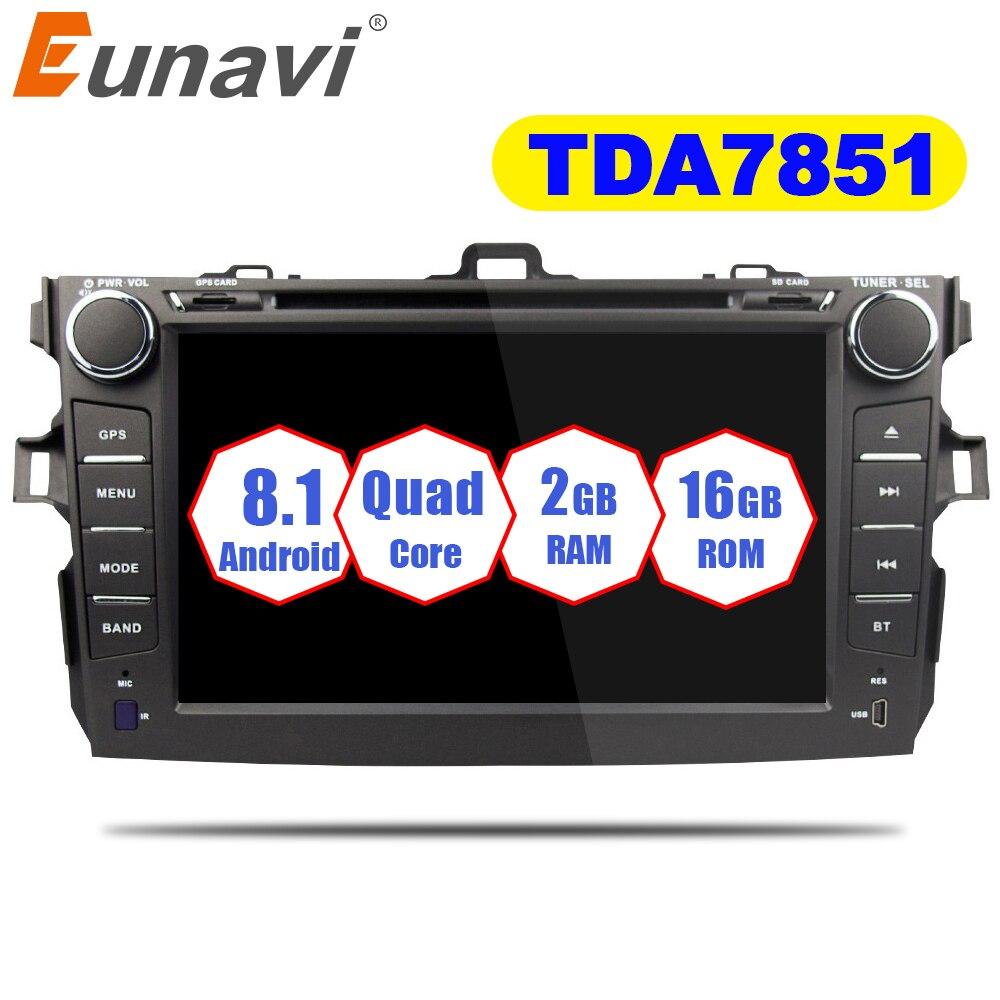 Eunavi 2 Din Android 8.1 Car Dvd Player For Toyota Corolla 2007 2008 2009 2010 2011 In Dash Car Radio Gps Video Wifi Bluetooth