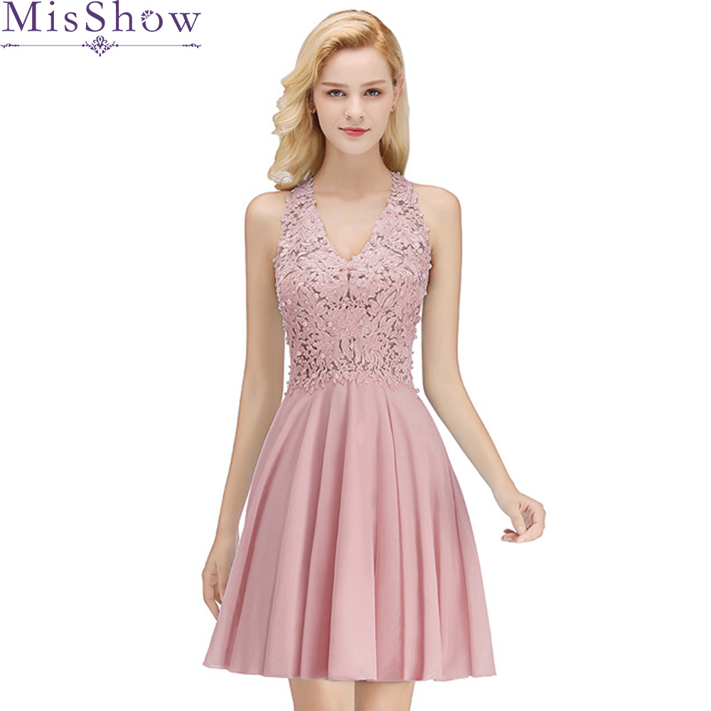 Misshow Cocktail Dresses 2020 Dusty Pink Chiffon Short Formal Party Gown 2019 Sexy V Neck Sleeveless Robe Coctail