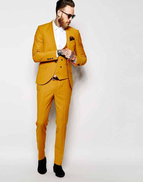 2017 Latest Coat Pant Designs Yellow Shawl Lapel Men Suit Formal Skinny Colorful Stylish Prom ...
