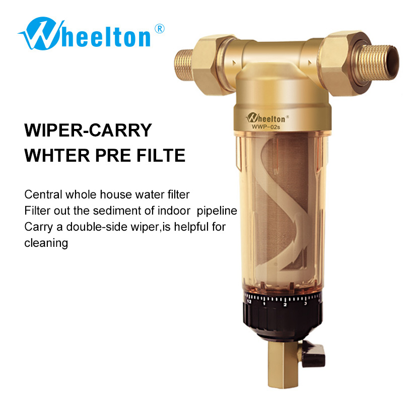 Wheelton Water Pre Filter (WWP-02S) Carry Two Wipers Euro-standard Brass 30Years lifitime Purifier whole house 1/2&3/4&1