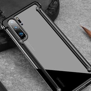 Image 5 - OATSBASF עם כרית אוויר מתכת מסגרת צורת טלפון מקרה עבור Huawei P30 P30 פרו יוקרה טלפון פגוש אנטי ושחרר עמיד הלם טלפון מקרה