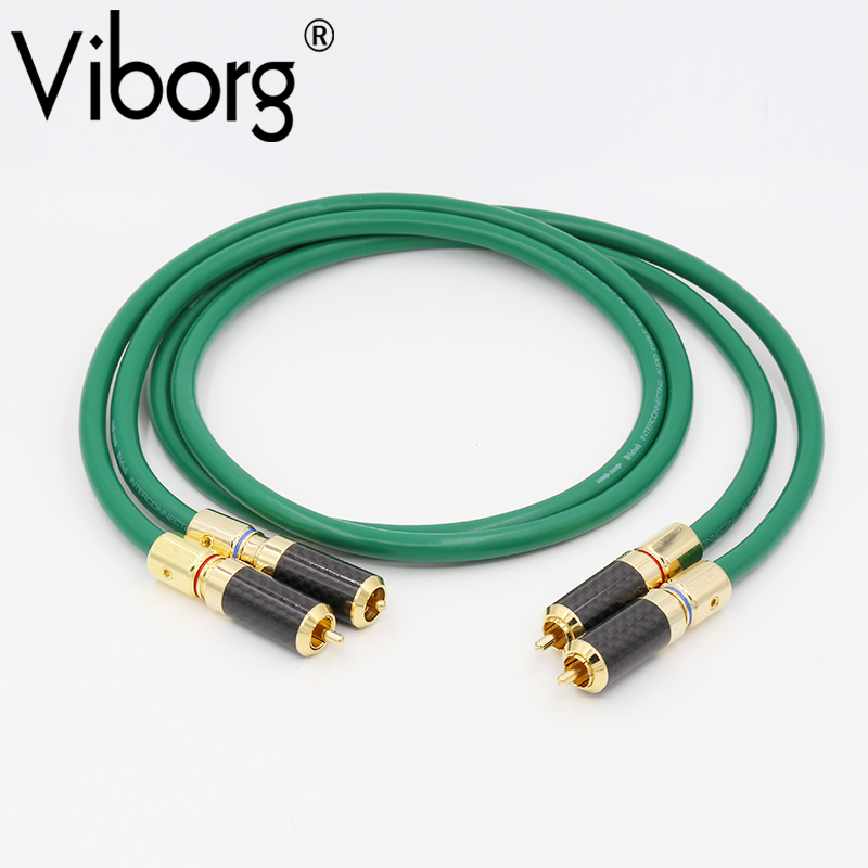 VIBORG 082810 High Performance Silver plated RCA Hi Fi Cable Carbon Gold RCA Connector Audio RCA cable for HIFI high performance gold plated viborg 805 tools rca socket fitting tool