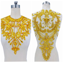 handmade golden yellow rhinestones applique on mesh sew on crystals trim patches 34*41cm*52*32cm for dress accessories