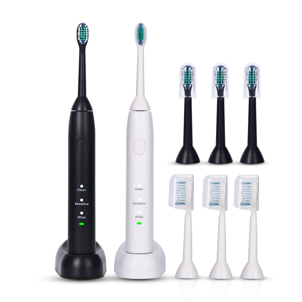 AZDENT Ultrasonic Electric Toothbrush Rechargeable Tooth Brush With 4 Replacement Heads Sonic Teeth Brush Oral Care 2017 220v pink a39plus 55 wireless ultrasonic electric toothbrush electric tooth brush rechargeable 4 heads teeth brush