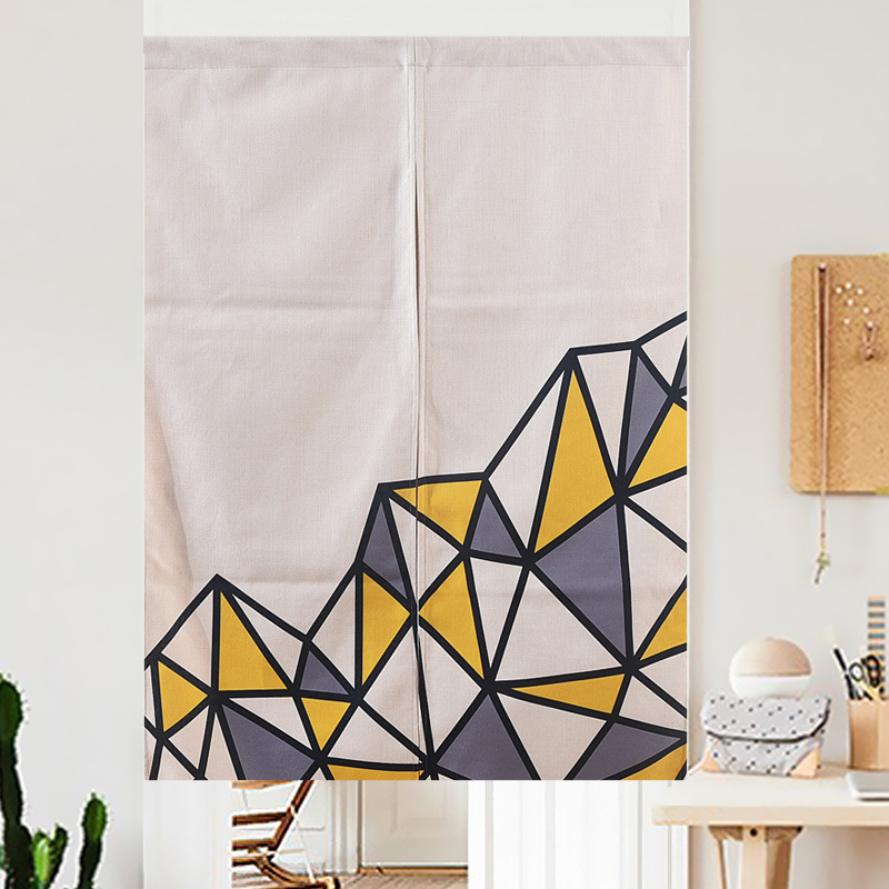 Nordic grey yellow white geometric curtain linen simple - Grey and yellow living room curtains ...