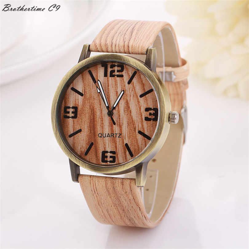 2017 supérieur nouveau Grain de bois montres mode Quartz montre-bracelet cadeau pour les femmes hommes montre Relogio Masculino erkek kol saati