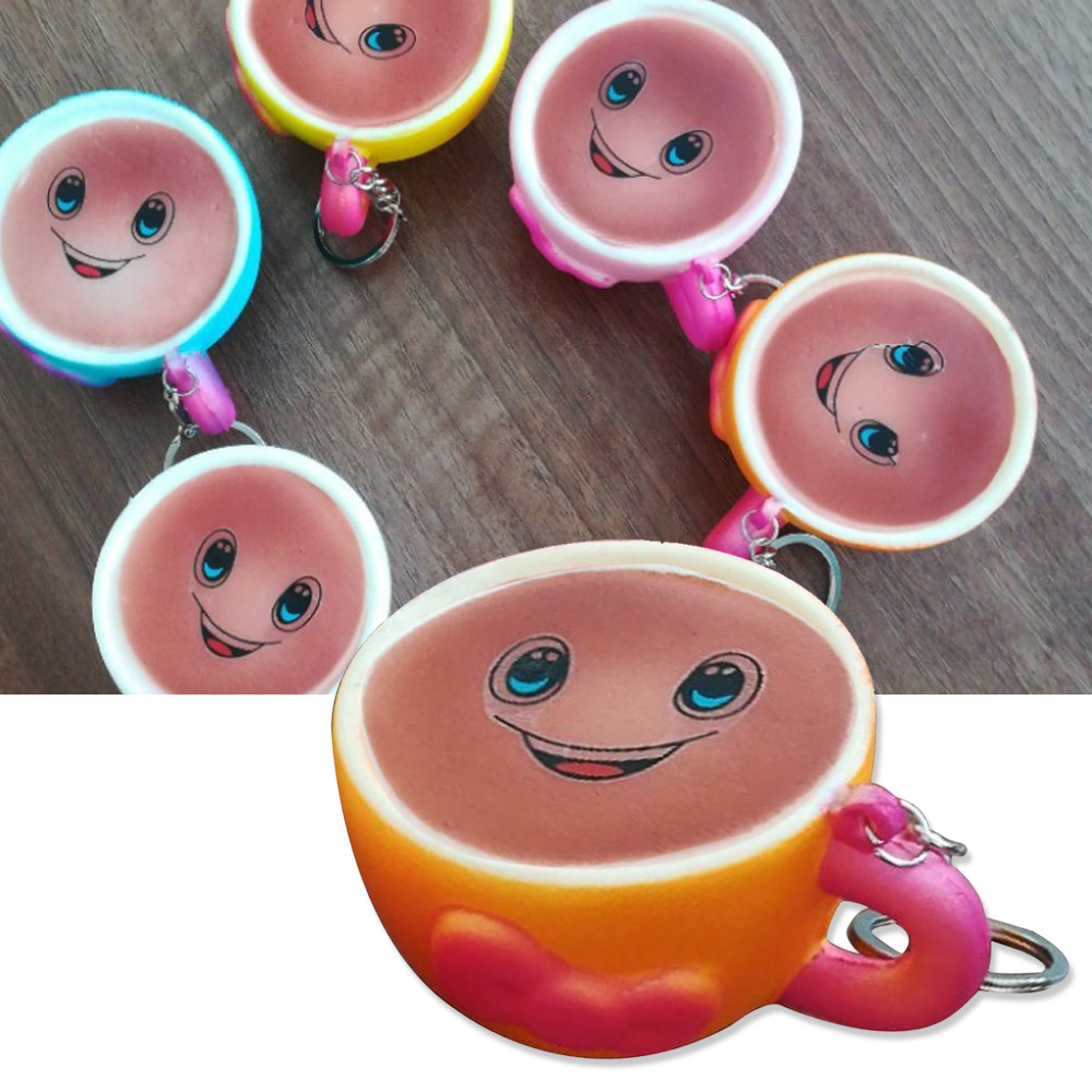 Satkago Artificial Slow Rising Squishy Toy Coffee Shape Anti Relieves Stress Toy with Keychain for Children Adults Anxiety