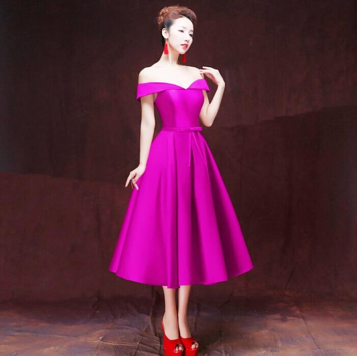 Ropa formal rojo vino único púrpura hermosa fuera del hombro vestido ...
