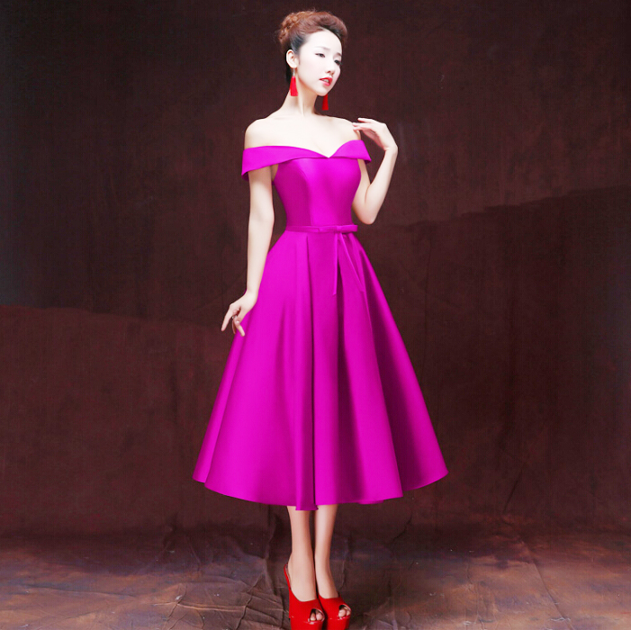 Formal Wear Red Wine Unique Beautiful Purple Off The Shoulder Dress