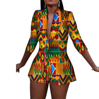 African Clothes Short Pants and Full Sleeve Blazers Set Brief African Print Clothing Weddings Events Ladies Suits Ladies Clothes