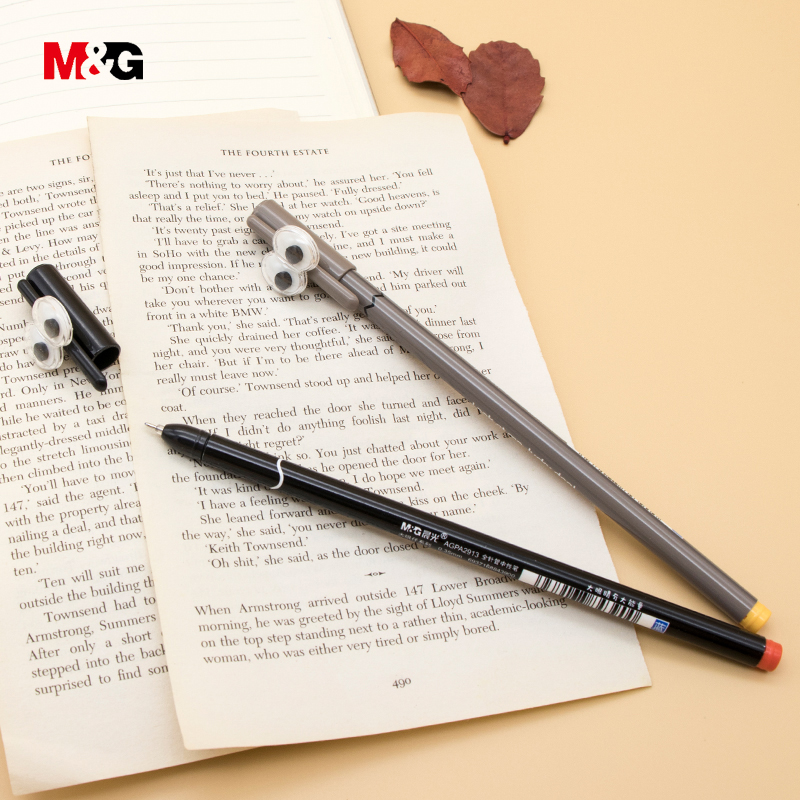 M&G 3pcs black ink kawaii cartoon gel pens for school stationery office supplies quality cute pen for girl smooth writing gift 3 pcs lot cute 3d cartoon figures gel pens kawaii stationery caneta material escolar office school supplies papelaria kids gifts