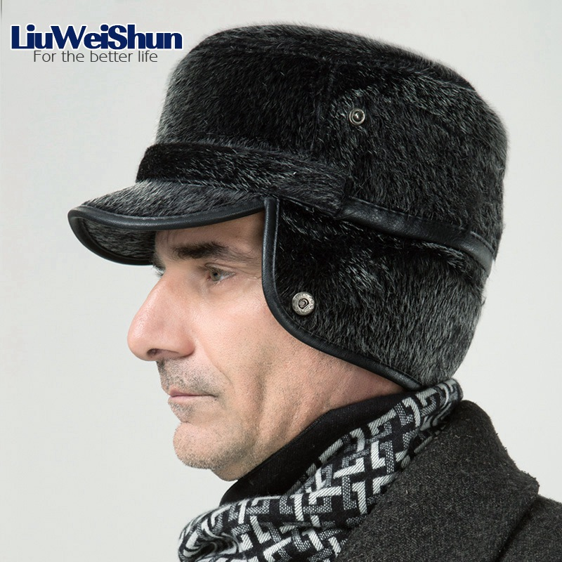 Winter Thicken Flat Top Bomber Hats Men Top Quality Russian Snow Hat with Earflaps Retro Faux Fur Warm Outdoor Bonnet for Men