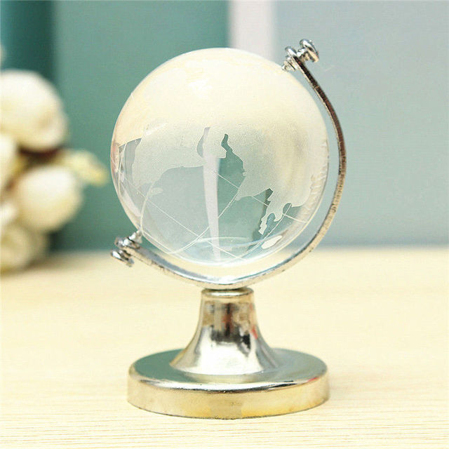 HOT SALE Crystal Glass Frosted World Globe Stand Paperweight Home Desk Wedding Decorate 5