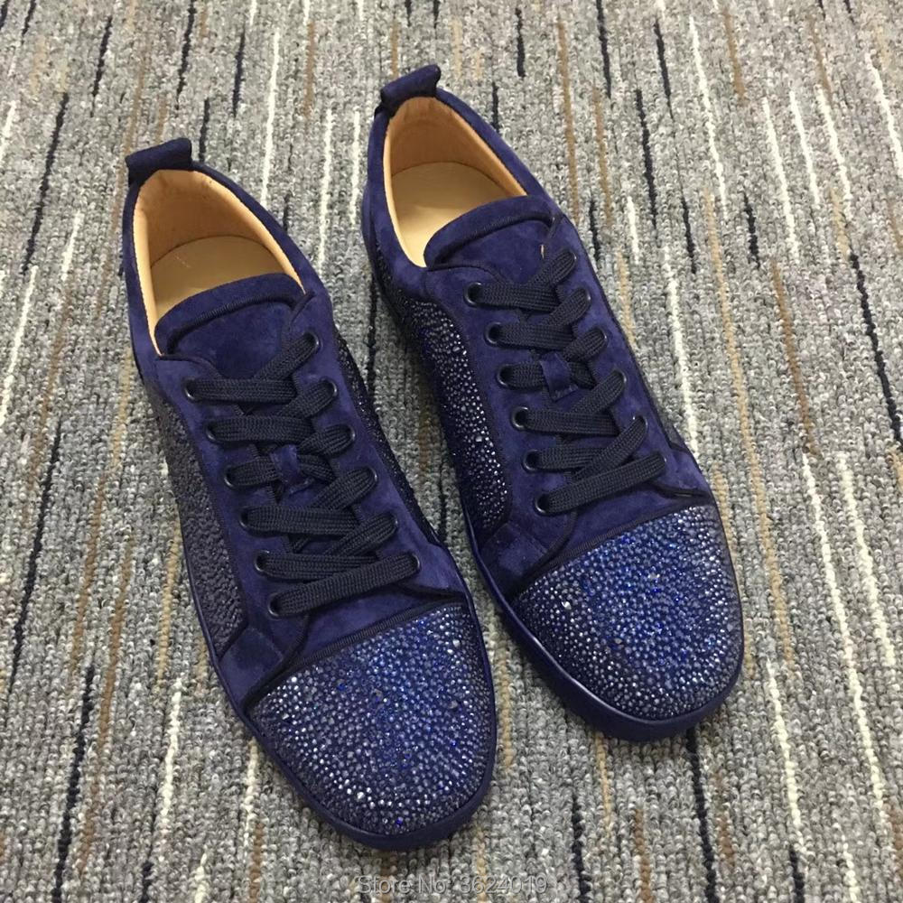 f5f5d0cbc2f Low Cut cl andgz For Men shoe Purple Blingbling diamond Lace Up Fashion Red  bottoms Shoes Sneakers Leather Loafers Flat 2018-in Men s Casual Shoes from  ...