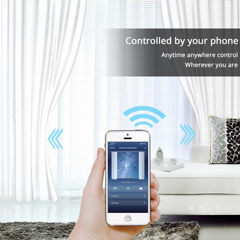 Wi-Fi Умная Автоматическая шторная моторная трековая система моторизованное приложение Smart LIFE дистанционное управление работает с Amazon Alexa Echo ...