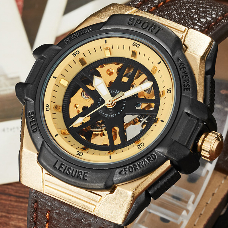 New Fashion Top Brand Mechanical Watches Male Fashion Skeleton Dial Automatic Mechanical Watch Leather Wristwatches Reloj