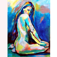 Hand Made Art Bbstract Indian Sexy Woman Female Nude Body painting Home Decor Painting on Wall